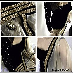 Typify Women's Velvet Dress Material (PR-Typify05_Black_Free Size)