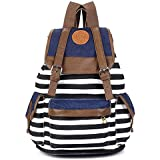 Kisstyle Canvas Backpack School Bag Super Cute Stripe for Teens Girls Boys Students