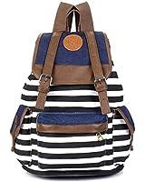 Kisstyle Unisex Canvas Backpack School Bag Vintage Stripe College Laptop Rucksack