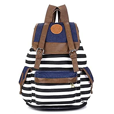 Eforstore New Unisex Canvas Backpack School Bag Vintage Stripe College Laptop Bags Rucksack for Teens Girls Boys Students Outdoor Travel with 1 Pc Eforstore Red Lucky Charms