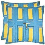 Safavieh Pillows Collection Nador Decorative Pillow, 18-Inch, Aqua and Yellow, Set of 2