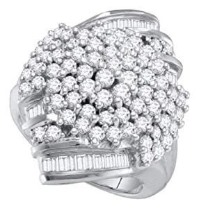 Pricegems 10K White Gold Ladies Round Brilliant Diamond Cluster Set Ring (2 cttw, H-I Color, I1/I2 Clarity, Ring Size: 6.5)