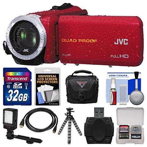 Jvc Everio Gz-R10 Quad Proof Full Hd Digital Video Camera Camcorder (Red) With 32Gb Card + Case + Led Light + Flex Tripod + Kit