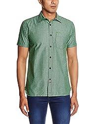 Blumerq Men's Casual Shirt (8907041038479_RECORD A 1501W_Large_101P - Green Black Stripe)