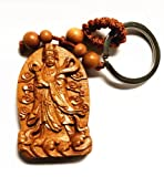 Feng Shui Peach Wood Curved Mazu (Matsu) Goddess Key Ring for Protection (With a Betterdecor Pounch)