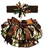 Stephan Baby Ruffled Diaper Cover and Curly Headband Gift Set, Camo Print, 18-24 Months