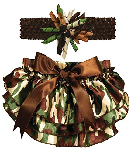 Stephan Baby Ruffled Diaper Cover and Curly Headband Gift Set, Camo Print, 6-12 Months - 1