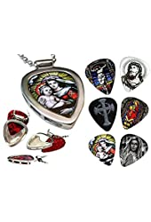 Christian Guitar Picks & PICKBAY Guitar Pick Holder Necklace MARY Jesus Infant Jesus Faux Stained Glass