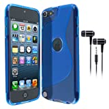 BLUE S LINE WAVE GEL SKIN CASE & BLACK EAR EARPHONES FOR APPLE IPOD TOUCH 5