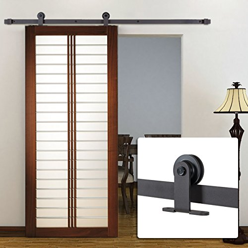 Belleze 6FT Modern European Style Barn Wood Sliding Door Closet Hardware, (Dark Coffee) (Closet Sliding Door Bumper compare prices)
