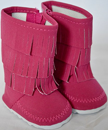 DARK PINK FRINGE BOOTS FOR AMERICAN GIRL DOLLS