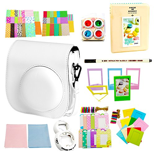 SAIKA Instant Film Camera Accessories Kit Bundles White for Fujifilm Instax Mini 8, 11 in 1 - Case Bag, Photo Album, Selfie Lens, Filters, Stickers, Film Frames,Lens Cleaning Cloth, Pen, ETC. (One Day Sale On Electronic compare prices)