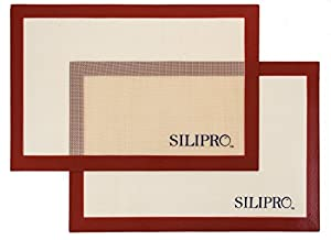 2 pack SiliPro Premium Non-Stick Silicone Baking Mat, Half Sheet Size, 11-5/8-Inch x 16-1/2-Inch