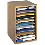 Safco Products Vertical Desktop Sorter, 11 Compartment, Medium Oak, 9419MO