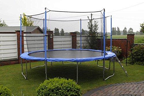 Trampolin (366 cm Durchmesser) incl. Sicherheitsnetz, Leiter und Plane 180 kg belastbar günstig