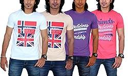 MaximBlue Men's White Light Brown Purple Red T-Shirt