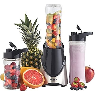 VonShef 300W Stainless Steel Personal Sports Blender, Shake & Smoothie Maker - 2 x 20-Oz Bottles & 2 x 14-Oz Bottles