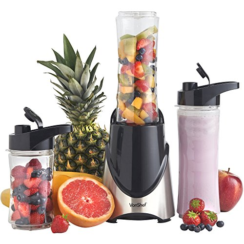 VonShef 300W Stainless Steel Personal Sports Blender, Shake & Smoothie Maker - 2 x 20-Oz Bottles & 2 x 14-Oz Bottles (Russell Hobbs Blender compare prices)