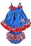 TOOGOO(R)2piezas conjuntos de ropa de Nina bebe Pantalones bombachos de volante + camisetas de azul oscuro lindas con ropa del algodon de ninito de volante floral rojo L
