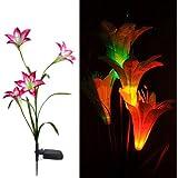 MaxSale Solar LED Lily Flower Light Color Changing Energy Saving LED Lamp
