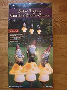 Set of 3 Solar Lighted Garden Gnome Stakes