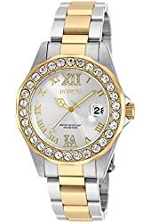 Invicta 20215 Pro Diver Lady Silver Dial Qartz Gold Stainless Steel Watch