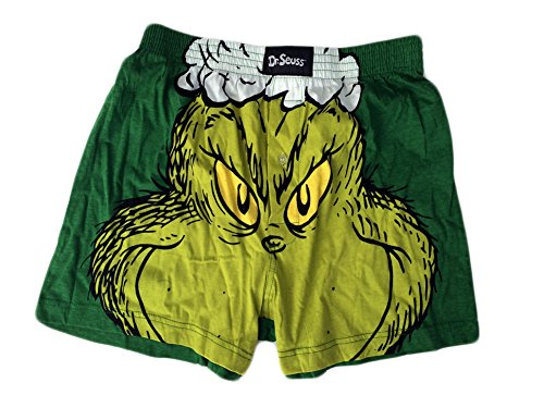 Dr. Seuss Mens The Grinch Who Stole Christmas Boxer Shorts - Green - Small