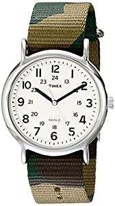 """Timex Unisex T2P365 """"Weekender"""" Silver-Tone Watch with Camo Nylon Band"""