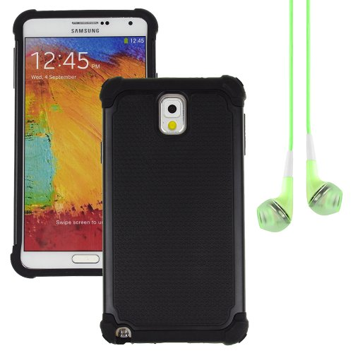 Hybrid Dual Layer Armor Defender Protective Case Cover For Samsung Galaxy Note 3 (At&T Verizon Sprint T-Mobile) + Vangoddy Green Headphone (Black)