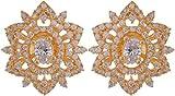 Violet & Purple Gold Plated Stud Earrings For Women (1000031072)