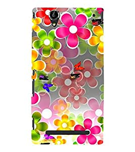 ANIMATED FLOWERS AND BUTTERFLIES DEPICTING THE BEAUTY OF NATURE 3D Hard Polycarbonate Designer Back Case Cover for Sony Xperia T2 Ultra :: Sony Xperia T2 Ultra Dual