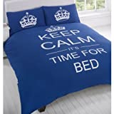 Keep Calm Navy Duvet Cover Quilt Bedding Set, Blue, Single
