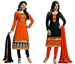 DivyaEmporio Women's Faux Crepe Dress Material Combo