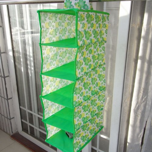 Five-Pocket Non-woven Hanging Bag / Green flower color