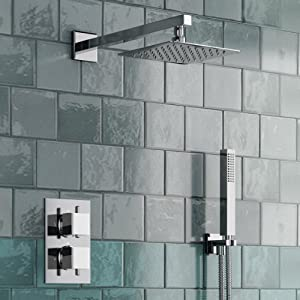 "Thermostatic Mixer Shower Set 2 Way Valve with Square 8"" Head + Hand Held"
