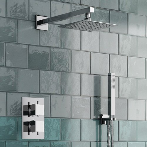 Thermostatic Mixer Shower Set 2 Way Valve with Square 8