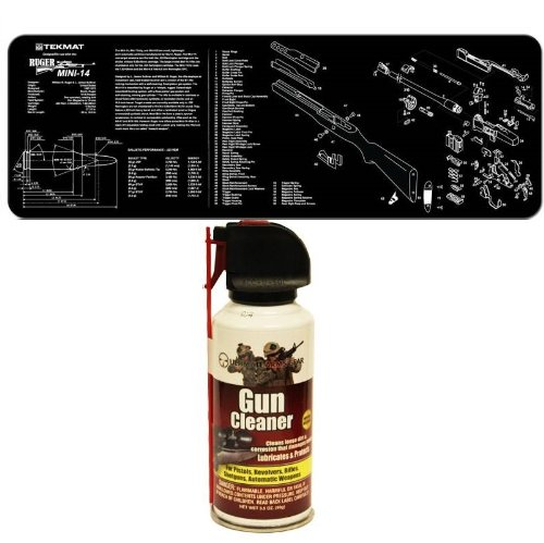 Ultimate Arms Gear Gunsmith & Armorer's Cleaning Work Tool Bench Gun Mat For The Ruger Mini-14 Mini 14 Rifle + Pro Armorer's Gun Cleaner Lubricant Protector Preservative Jet Action Spray Safe Aerosol Travel Range Field Can Bottle Cleans Loose Dirt, Rust & Corrosion that Damages Metal Parts for Cleaning Firearms Pistols, Revolvers, Rifles, Shotguns & Auto Weapons