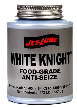 Jet-Lube White Knight Food Grade Anti Seize Thread Lubricant, 1/2 lbs Brush Top Can