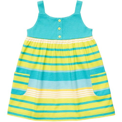 Carters Infant Girls Tank Dress, Blue And Green Stripe, 3M