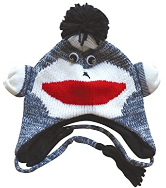Choose from 22 Designs! - Winter Knit Adult Fleece Lined Animal Face Hats with Ear Flaps & Poms (Gray Monkey)