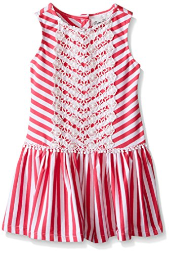 Rare Editions Little Girls Striped Dress with Lace Trim, Fuchsia/White, 5