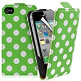 Supergets® Apple iPhone 4 / 4S Polka Dot Top Flip Case Covers, Screen Protector And Polishing Cloth ( Green )