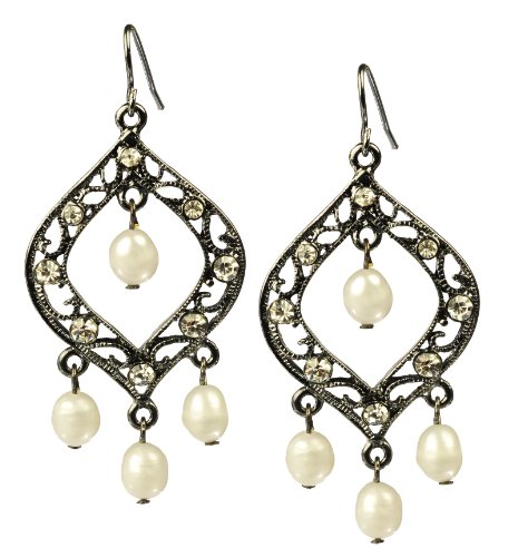 Black Tone Rhinestone Chandelier Earrings with White Freshwater Cultured Pearls