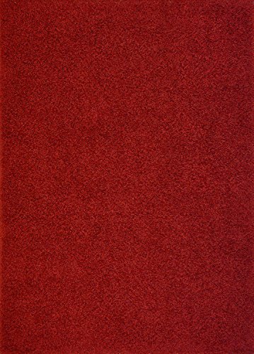 Shaggy Collection Solid Color Shag Area Rugs (Dark Red, 5'x7') (4110)