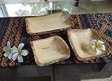 roro Handcarved Rectangular Mango Wood Rectangular Serving Tray with Bark, 3 Piece