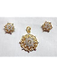 Sabhyata Gifts & Fashions White Brass Pendant Pendant Set For Women - B00QMBO4Y4