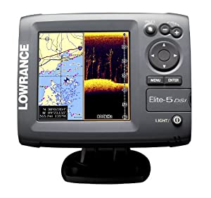 Lowrance 000-10245-001 Elite-5 DSI DownScan Imaging Chartplotter Fishfinder with 5-Inch Color LCD, Navionics Cartography by Lowrance