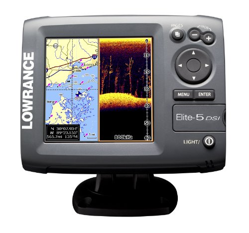 Lowrance 000-10245-001 Elite-5 DSI DownScan Imaging Chartplotter/Fishfinder with 5-Inch Color LCD, Navionics Cartography