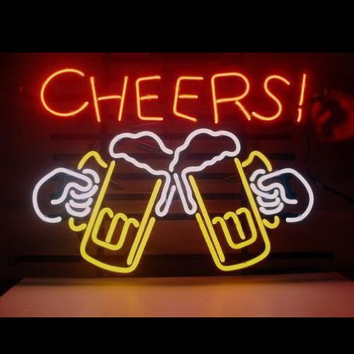 Hozer Professional 17*14 Cheers Design Decorate Neon Light Sign Store Display Beer Bar Sign Real Neon Signboard For Restaurant Convenience Store Bar Billiards Shops