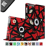 Fintie Apple iPad 2/3/4 Case - 360 Degree Rotating Stand Smart Case Cover for iPad with Retina Display (iPad 4th Generation), the new iPad 3 & iPad 2 (Automatic Wake/Sleep Feature), ZZ-Flower Fragment Red